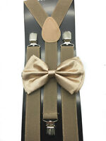 Tan color Bow Tie & Suspender Set Tuxedo Wedding Formal Men's Accessories