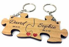 Personalised Jigsaw Keyrings Valentine's Anniversary Wedding Couples Love Gift