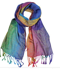 Paisley Pashmina Women Winter Fall Long Scarf Shawl Wrap Rainbow Viscose Blue