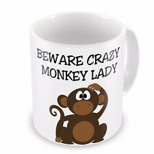 15oz Beware Crazy MONKEY LADY  Funny Novelty Gift Mug