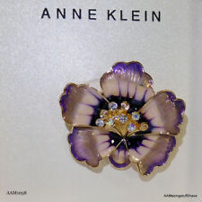 Anne Klein Gold Tone Purple Crystal Flower Pin Brooch FREE DOMESTIC SHIPPING