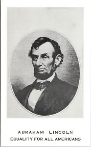 Vtg Abraham Lincoln Equality For All Americans Unused Chrome Postcard