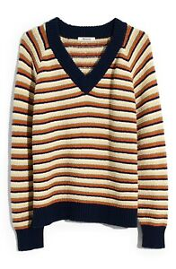 NEW Madewell Arden Striped V-Neck Pullover Sweater Chunky Knit Size Medium M