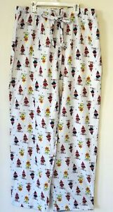 Macy's Men's L Flannel Family Pajama Pants Elves Parade Print New with Tags