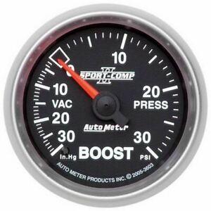 AutoMeter 3603 Gauge, Vac/Boost, 2 1/16in, 30inHg-30psi, Mech, Sport-Comp II