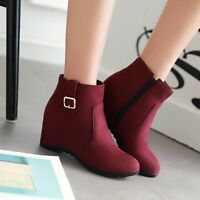 Womens Ankle Boots Round Toe Hidden Wedge Heel Booties Plus Size Side Zip Shoes