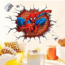 3D Broken Wall Spiderman Wall Stickers Removable DIY Decal Vinyl Room Decoration