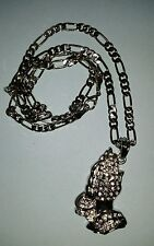 """Class A Collection 24"""" Silver Plated Figaro Chain with Praying Hands Pendant"""
