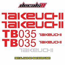 Takeuchi TB035 Mini Excavator Decal Set Sticker Aftermarket