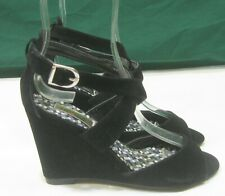 """NEW LADIES  Black 3.5""""High Wedge Heel  Open Toe Sexy Shoes Size 6"""