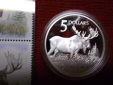 CANADA 2004 MAJESTIC MOOSE, SILVER 5 DOLLAR PROOF COIN & 2 STAMPS & DISPLAY BOX