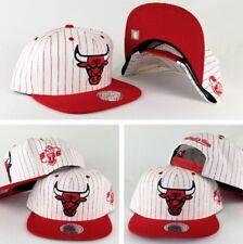 Mitchell & Ness NBA Chicago Bulls White / Red pinstripe snapback Hat Cap