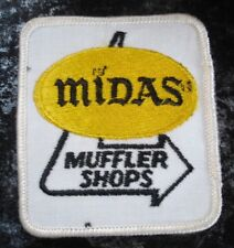 Vintage Midas Muffler Label Embroidered Fabric Patch-White-Gold-Black Colors-New