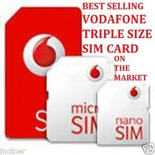 VODAFONE MICRO NANO STANDARD SIM CARD FOR IPHONE 4 4s& SAMSUNG GALAXY S4 S5 S6