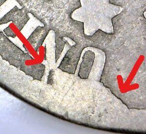 1867 Shield Nickel; Nice Cud Reverse Die Break Mint Error; G/AG; No Reserve