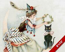 VINTAGE HALLOWEEN WITCH & CAT KITTEN PET ANIMAL ART PAINTING REAL CANVAS PRINT