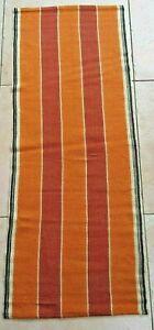Swedish orange striped handwoven table runner