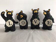 "Big Sky Carvers Set of 4 Bearfoots Black Bear Figurines ""Love Line""~Jeff Fleming"