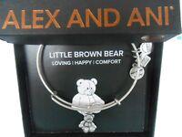 Alex and Ani LITTLE BROWN BEAR Bangle Bracelet Rafaelian Silver NWTBC