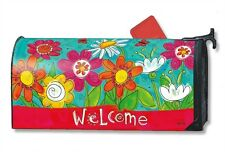 Welcome Blooms Mail Box Wrap fantasy flowers magnetic Mailwrap mailbox cover