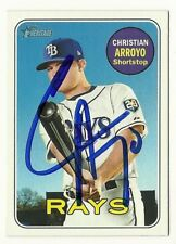 2018 HERITAGE #450 CHRISTIAN ARROYO RAYS AUTOGRAPHED SIGNED BASEBALL CARD SP
