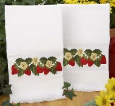STRAWBERRIES Strawberry HAND TOWELS Embroidery KIT NEW