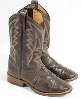 J. Chisholm Exotic Brown Ostrich Cowboy Western Boots Men's size 7 M Vintag USA