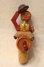 """VINTAGE WINE STOPPER """"MAN SITTING ON KEG"""" w/ MOVABLE PARTS,HAND CRAFTED WOOD,5"""""""
