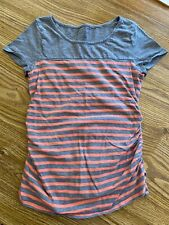 Sz XS Liz Lange Maternity short-sleeved gray and coral striped tee