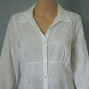 POSTIE Fashions Women's Blouse Buttons Collar Long Sleeve Ladies Size 12 White