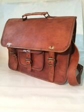 "Handmade Real Brown Leather 15"" MacBook Satchel Laptop Crossbody Messenger Bag"