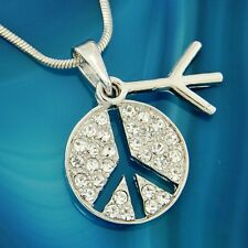w Swarovski Crystal Peace Sign Love Symbol Pendant Necklace Chain Gift