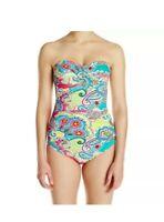 Anne Cole Signature One Piece Size 10 Multi Swimsuit Bandeau Swimwear