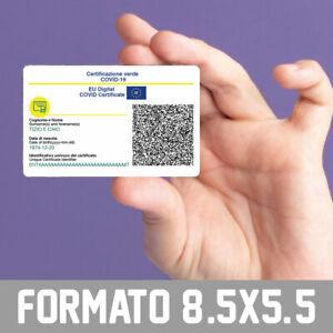 Green Pass formato carta di credito plastificato - codice QR funzionante