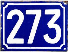 Large old blue French house number 273 door gate plate plaque enamel metal sign