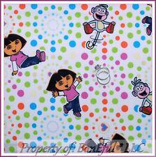 BonEful FABRIC FQ Cotton Girl S Dora Explorer Boots Monkey Polka Dot Pink Purple