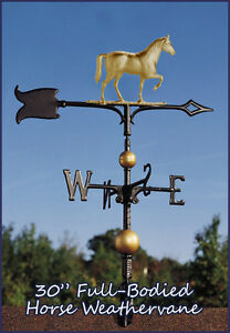 "Whitehall Weathervane 30"" Horse Full-Bodied + Mount Ships FAST - Gold-Bronze"