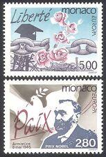 Monaco 1995 Europa/Peace/Freedom/Dove/Nobel Prize/Chain/Flowers 2v set (n40595)