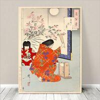"Beautiful Japanese GEISHA Art ~ CANVAS PRINT 24x18"" Kuniyoshi- Red Kimono"