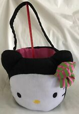 Plush Black Pink Hello Kitty Halloween Trick or Treat Basket Candy Pail Bucket