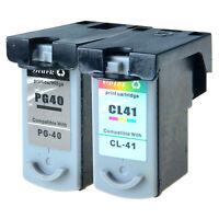 2 PK PG-40 Black CL-41 Color Ink Cartridges for Canon PIXMA MP140 MP150 iP1800