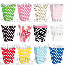 8 Popcorn TREAT BOXES Polka Dots Spots - Birthday Party Favour Loot Paper Bags