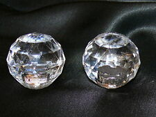 """Vintage Faceted Lucite Ball Orb Lamp Finials Finial Pair Set of 2 Chrome 1.5"""""""