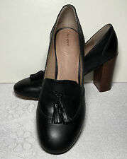 LANDS END women leather Black Stacked classic HEELS SHOES tassels sz 8.5B  521