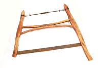 Antique Wooden Buck Saw Large Hand Saw Woodworking Primative Tools 34 x 26""