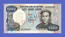 "VIETNAM SOUTH - 1000 DONG ""UNISSUED - TRUONG CONG DINH"" 1975s  - Reproductions"