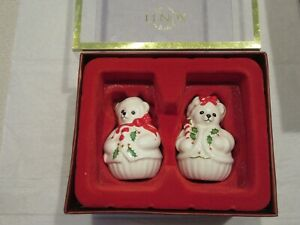 LENOX HOLIDAY TEDDY BEAR SALT AND PEPPER SHAKERS HOLLY