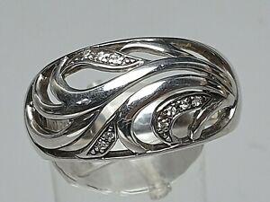 Gewölbter 925 Silber Ring Bandring Jugendstil-Design Meisterpunze RG 60/19,1mm