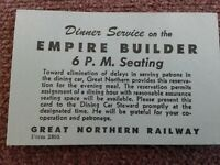 VTG Great Northern Railway Empire Builder Dinner Service Reservation Ticket