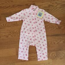 PETIT BATEAU girls 9m PINK one-piece 100% cotton long sleeve coverall romper NWT